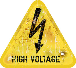 high voltage, electric shock warning sign, vector