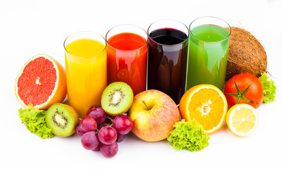 Fresh  juices and fruits isolated on white