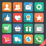 Universal Flat icons set for Web and Mobile App. Profile, Favori
