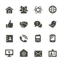Communication icon set. Rounded corners.