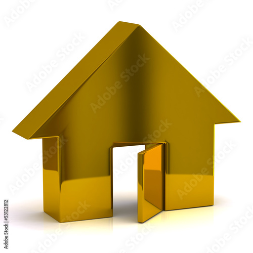 Golden house with open door