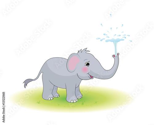 Elefantenbaby spritzt mit Wasser