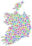Map of Ireland - Europe - in a mosaic of harlequin circles