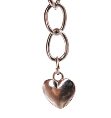 Silver pendant heart isolated