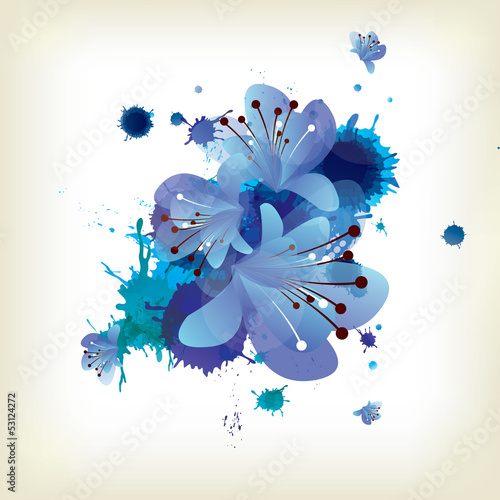 Abstract background with splash and floral elements
