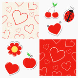 Seamless patterns with hearts and cute red stickers with tape