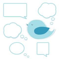 Blue bird and set of speech bubbles