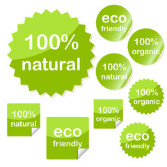 Set of sticky eco web icons