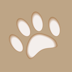 Realistic animal foot applique cut paper with soft shadow
