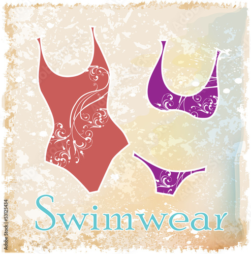 silhouettes of bikini with floral design