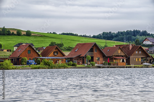 Holiday houses on the bank of a lake.