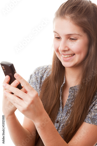Teenager girl and mobile phone