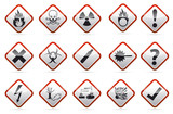Red border Danger round corner warning sign set