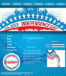 4th of july website template grunge wave design vector illustrat