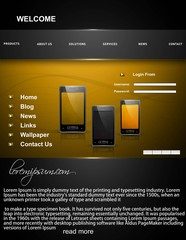 Mobile phone website template bright colorful vector illustratio