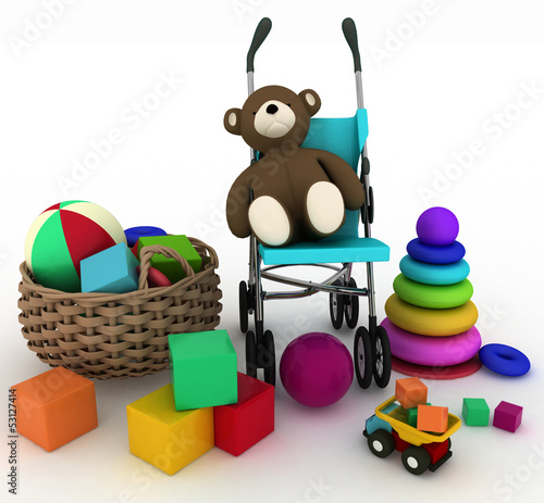 3d render illustration of child's toys in small basket and pram