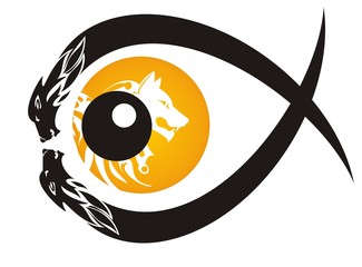 Tribal wolf eye symbol in the form of fish