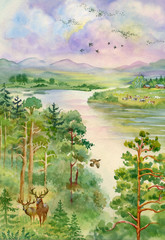 Summer landscape with river, pine, trees and deer