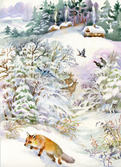 Winter landscape with a house and a fox