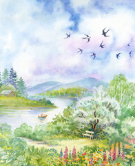 Spring landscape with swallows