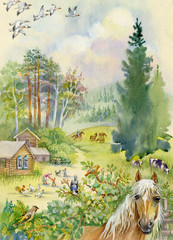 Rural landscape with a horse