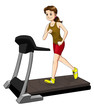 Cartoon illustration of a woman on a treadmill