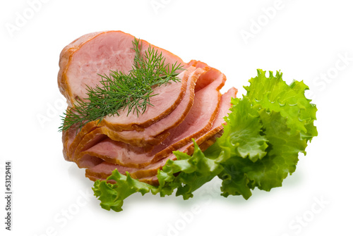 Sliced ham isolated on white background.
