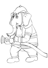 Outline illustration of an elephant as a firefighter
