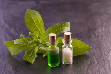 stevia rebaudiana herb essence and globule