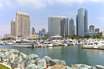 San Diego marina downtown buildings.