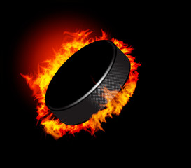 Hockey Puck in Fire