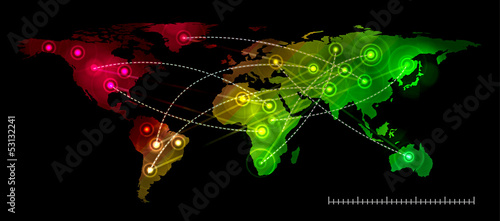Illustration world map. Concept communication.