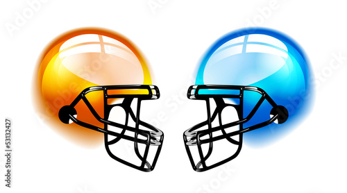 Football Helmets on white