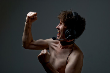 Screaming man with a headset
