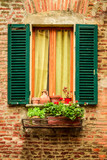 Fototapety Window in an old house decorated with flower pots and flowers