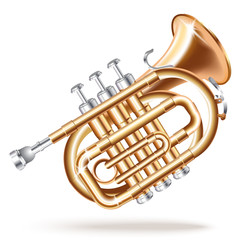 Classical mini trumpet, isolated on white background