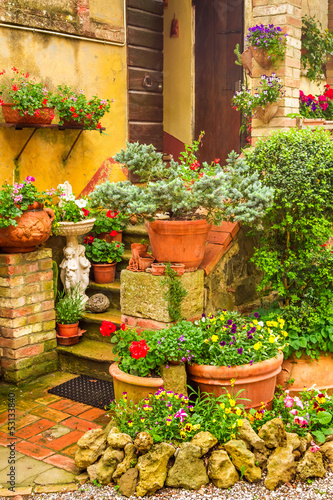 Beautiful porch decorated with flowers in the countryside, Italy - 53133840