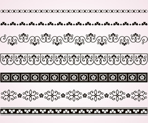Set of filigree decorative borders