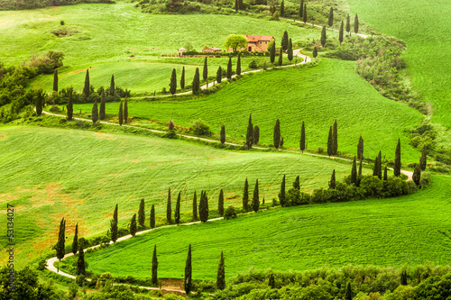 Zdjęcia na płótnie, fototapety na wymiar, obrazy na ścianę : Winding road to agritourism in Italy on the hill