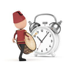 3D Traditional Ramadan Drummer and white clock