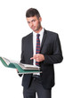 Smart handsome business man points to files
