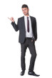 Modern businessman pointing - on white