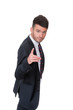 Smart dynamic young businessman pointing