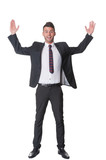 Excited happy young businessman gestures
