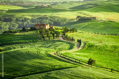 Zdjęcia na płótnie, fototapety na wymiar, obrazy na ścianę : Farmhouse in Tuscany located on a hill