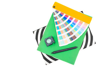 Graphic design tools with magazins, isolated on white