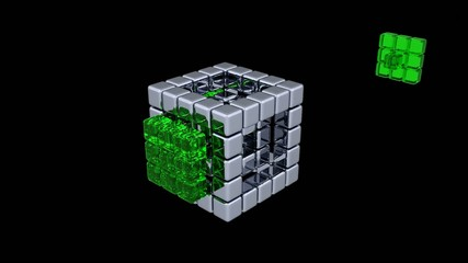 3D Cubes - Assembling Parts - 2 Colors