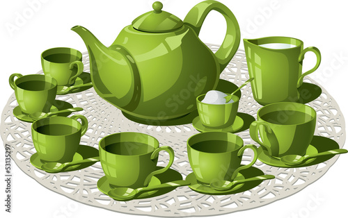 Tea Time - Vector illustration of a complete tea set.