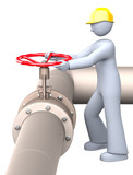 Worker at the manual gas valve