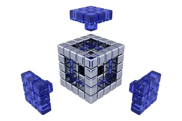 3D Cubes - Assembling Parts - Blue Glass